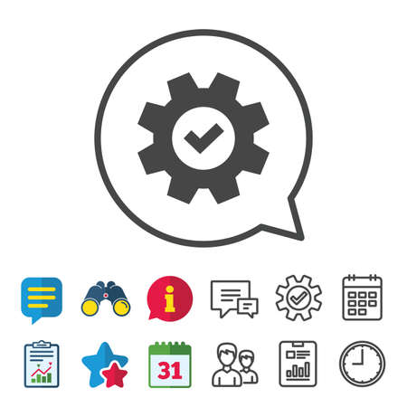 Service icon. Cogwheel with tick sign. Check symbol. Information, Report and Calendar signs. Group, Service and Chat line icons. Vector