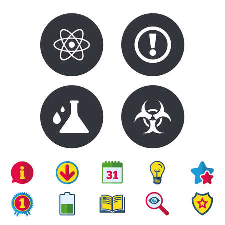 Attention and biohazard icons. Chemistry flask sign. Atom symbol. Calendar, Information and Download signs. Stars, Award and Book icons. Light bulb, Shield and Search. Vector