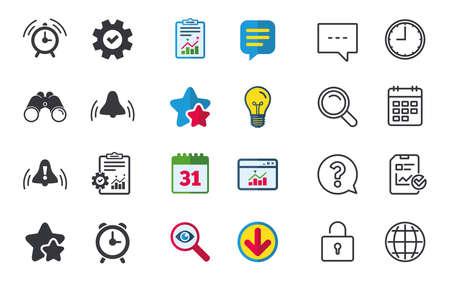 알람 시계 아이콘입니다. 일어나 벨 기호 기호. 느낌표. 채팅, 신고 및 캘린더 표지판. 별, 통계 및 다운로드 아이콘. 질문, 시계 및 글로브입니다. 벡터 일러스트