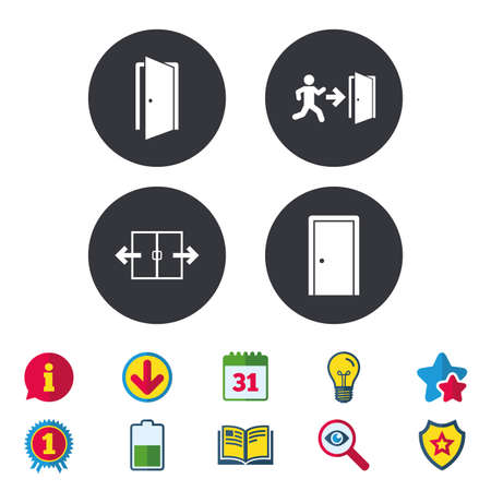 Automatic door icon. Emergency exit with human figure and arrow symbols. Fire exit signs. Calendar, Information and Download signs. Stars, Award and Book icons. Light bulb, Shield and Search. Vector