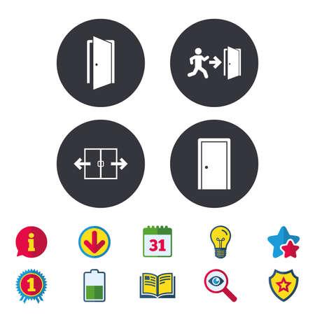 Automatische deur pictogram. Nooduitgang met menselijke figuur en pijlsymbolen. Uitgangstekens. Kalender, informatie en downloadborden. Pictogrammen voor sterren, awards en boeken. Gloeilamp, schild en zoeken. Vector Stock Illustratie