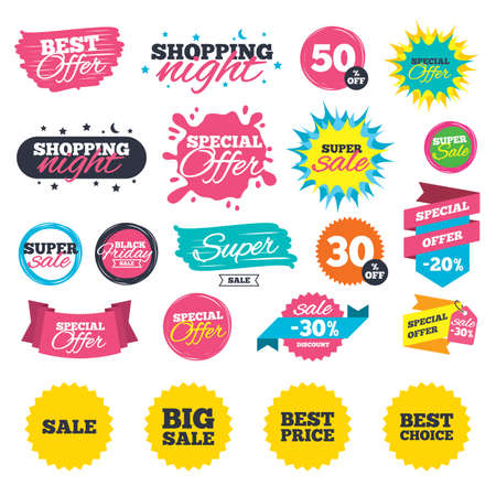 Sale shopping banners. Sale icons. Best choice and price symbols. Big sale shopping sign. Web badges, splash and stickers. Best offer. Vector Ilustrace