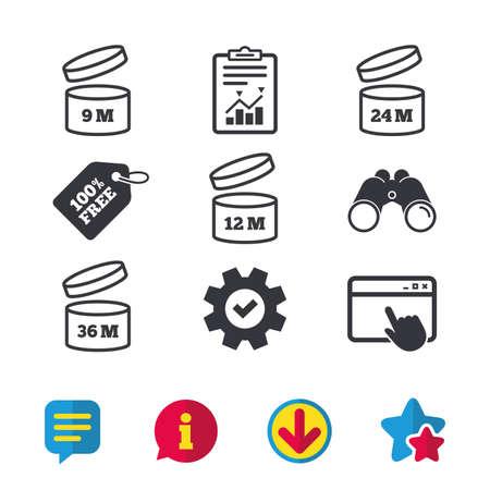 開封後のアイコンを使用します。製品の 9-36 ヶ月有効期限では、シンボルを署名します。食料品項目の貯蔵寿命。ブラウザー ウィンドウ、レポートとサービスの兆候。双眼鏡は、情報とダウンロード アイコン。ベクトル 写真素材 - 83658469