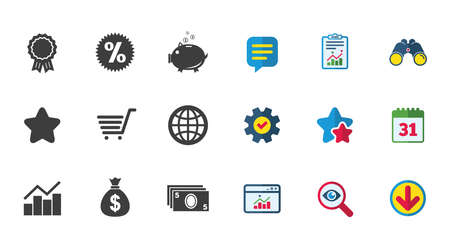 Online shopping, e-commerce and business icons. Piggy bank, award and star signs. Cash money, discount and statistics symbols. Calendar, Report and Download signs. Stars, Service and Search icons Illustration