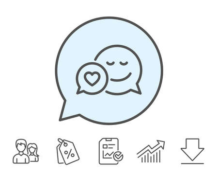Comic speech bubble with Smile line icon. Chat emotion with heart sign. Report, Sale Coupons and Chart line signs. Download, Group icons. Editable stroke. Vector