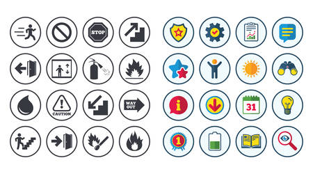 way out: Set of Emergency, Fire safety and Protection icons. Extinguisher, Exit and Attention signs. Caution, Water drop and Way out symbols. Calendar, Report and Book signs. Stars, Service and Download icons