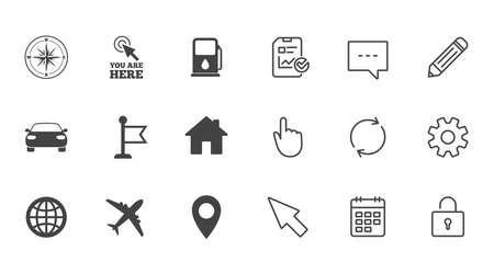 Navigatie, gps-pictogrammen. Windrose, kompas en kaartaanwijzerborden. Symbolen voor auto's, vliegtuigen en vlaggen. Chat, rapport en kalender lijntekens. Service-, potlood- en kastpictogrammen. Klik, Rotatie en Cursor