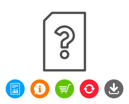 Unknown Document line icon. File with Question mark sign. Untitled Paper page concept symbol. Report, Information and Refresh line signs. Shopping cart and Download icons. Editable stroke. Vector 向量圖像