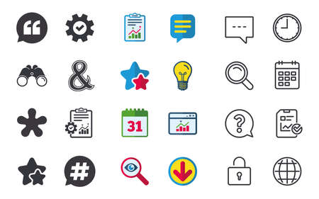 Quote, asterisk footnote icons. Hashtag social media and ampersand symbols. Programming logical operator AND sign. Speech bubble. Chat, Report and Calendar signs. Stars, Statistics and Download icons Illustration