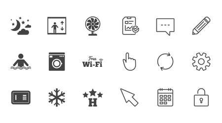 ホテル、アパートメント ・ サービスのアイコン。洗浄機です。Wifi、エアコン、スイミング プールのシンボル。チャット、報告書、カレンダーの線