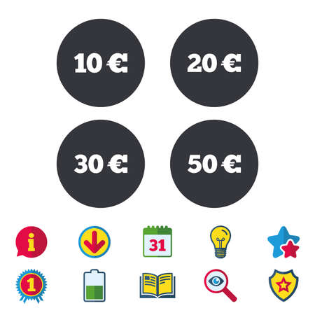 Money in Euro icons. 10, 20, 30 and 50 EUR symbols. Money signs Calendar, Information and Download signs. Stars, Award and Book icons. Light bulb, Shield and Search. Vector Illusztráció