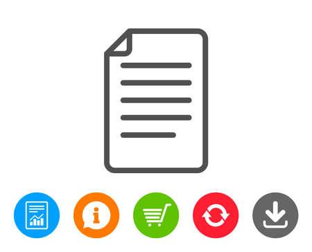 문서 관리 선 아이콘. 정보 파일 기호입니다. 용지 페이지 개념 기호입니다. 보고서, 정보 및 새로 고침 줄 표지판. 쇼핑 카트 및 다운로드 아이콘입니