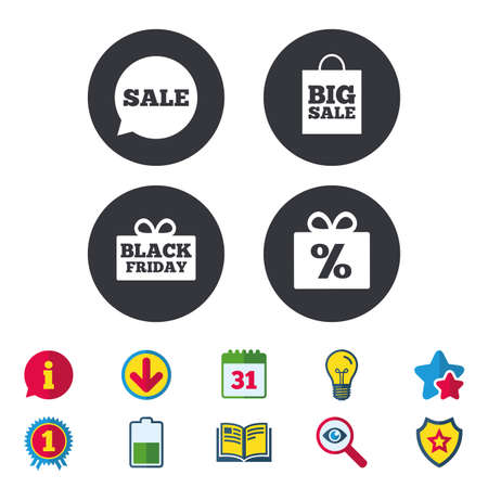 calendar icon: Sale speech bubble icon. Black friday gift box symbol. Big sale shopping bag. Discount percent sign. Calendar, Information and Download signs. Stars, Award and Book icons. Vector