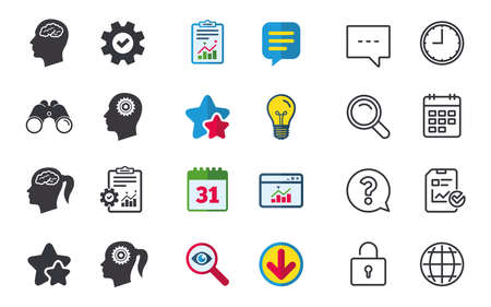 calendar icon: Head with brain icon. Male and female human think symbols. Cogwheel gears signs. Woman with pigtail. Chat, Report and Calendar signs. Stars, Statistics and Download icons. Question, Clock and Globe
