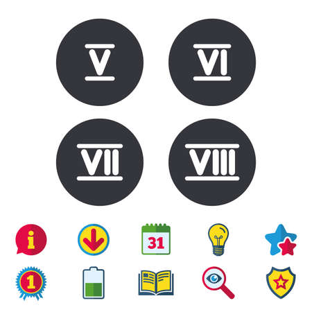 Roman numeral icons. 5, 6, 7 and 8 digit characters. Ancient Rome numeric system. Calendar, Information and Download signs. Stars, Award and Book icons. Light bulb, Shield and Search. Vector Illustration