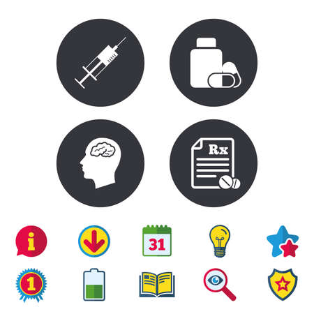Medicine icons. Medical tablets bottle, head with brain, prescription Rx and syringe signs. Pharmacy or medicine symbol. Calendar, Information and Download signs. Stars, Award and Book icons. Vector