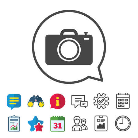 calendar icon: Photo camera sign icon. Digital photo camera symbol. Information, Report and Calendar signs. Group, Service and Chat line icons. Vector
