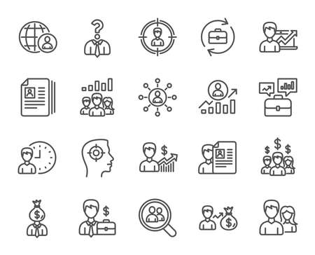 Human Resources line icons. Set of Business Networking, Job Interview and Head Hunting signs. CV, Teamwork and Portfolio symbols. Quality design elements. Editable stroke. Vector Illustration
