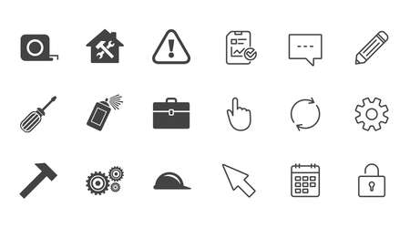 Repair, construction icons. Helmet, screwdriver and hammer signs. Gears, painting spray and attention symbols. Chat, Report and Calendar line signs. Service, Pencil and Locker icons. Vector