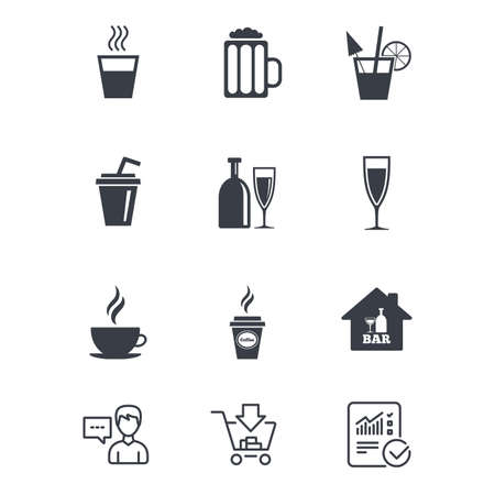 Cocktail, beer icons. Coffee and tea drinks. Soft and alcohol drinks symbols. Customer service, Shopping cart and Report line signs. Online shopping and Statistics. Vector