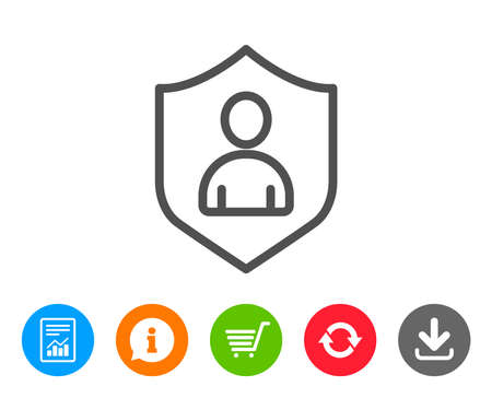 shopping chart: User Protection line icon. Profile Avatar with shield sign. Person silhouette symbol. Report, Information and Refresh line signs. Shopping cart and Download icons. Editable stroke. Vector