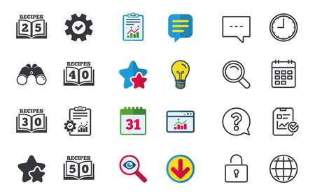 Kookboekpictogrammen. 25, 30, 40 en 50 recepten boekenbordsymbolen. Chat-, rapport- en kalenderborden. Sterren, Statistieken en Download pictogrammen. Vraag, klok en wereld. Vector