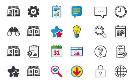 Cookbook icons. 25, 30, 40 and 50 recipes book sign symbols. Chat, Report and Calendar signs. Stars, Statistics and Download icons. Question, Clock and Globe. Vector Illustration