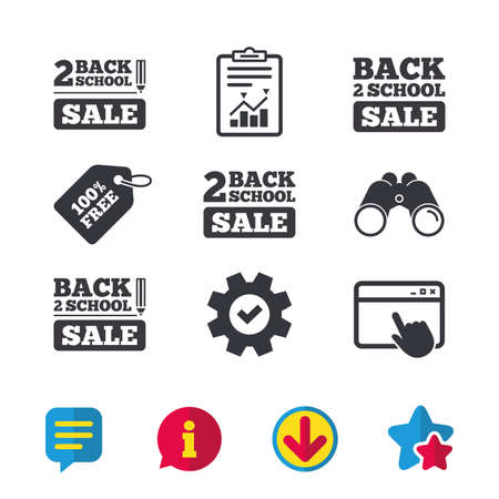 Back to school sale icons. Studies after the holidays signs. Pencil symbol. Browser window, Report and Service signs. Binoculars, Information and Download icons. Stars and Chat. Vector