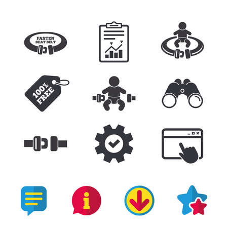 Fasten seat belt icons. Child safety in accident symbols. Vehicle safety belt signs. Browser window, Report and Service signs. Binoculars, Information and Download icons. Stars and Chat. Vector