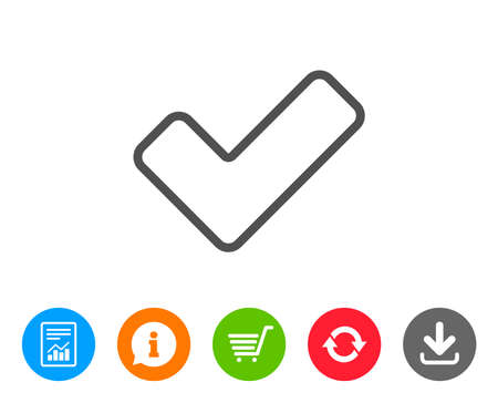 Check line icon. Approved Tick sign. Confirm, Done or Accept symbol. Report, Information and Refresh line signs. Shopping cart and Download icons. Editable stroke. Vector Illustration