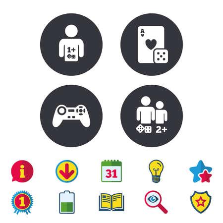 Cones do jogador. Sinais de jogadores de jogos de tabuleiro. Símbolo de joystick de videogame. Cartão de jogo do casino. Sinais de calendário, informações e download. Ícones de estrelas, prêmio e livro. Lâmpada, escudo e pesquisa. Vetor Foto de archivo - 83637246