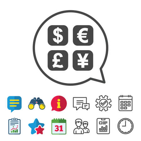 currency converter: Currency exchange sign icon. Currency converter symbol. Money label. Information, Report and Calendar signs. Group, Service and Chat line icons. Vector