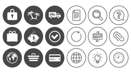 Online shopping, e-commerce and business icons. Credit card, gift box and protection signs. Piggy bank, delivery and tick symbols. Document, Globe and Clock line signs. Vector Illustration