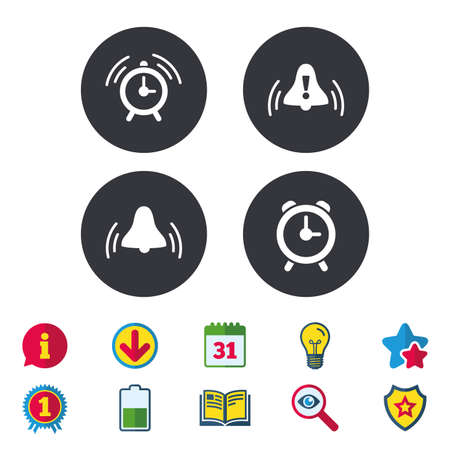 Alarm clock icons. Wake up bell signs symbols. Exclamation mark. Calendar, Information and Download signs. Stars, Award and Book icons. Light bulb, Shield and Search. Vector