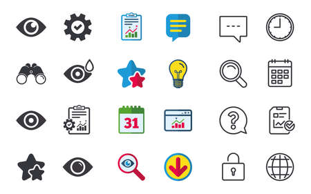 Eye icons. Water drops in the eye symbols. Red eye effect signs. Chat, Report and Calendar signs. Stars, Statistics and Download icons. Question, Clock and Globe. Vector
