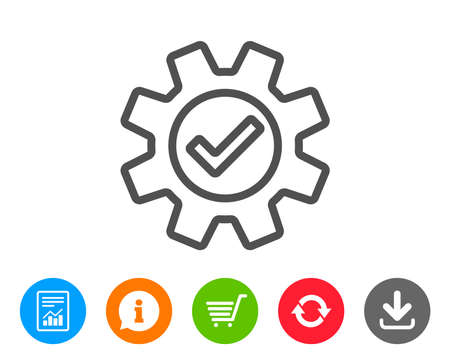 Cogwheel line icon. Approved Service sign. Transmission Rotation Mechanism symbol. Report, Information and Refresh line signs. Shopping cart and Download icons. Editable stroke. Vector 向量圖像