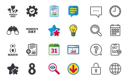 8 March Womens Day icons. Tulips or rose flowers bouquet sign symbols. Chat, Report and Calendar signs. Stars, Statistics and Download icons. Question, Clock and Globe. Vector Ilustração