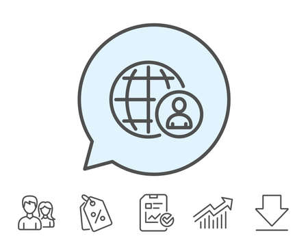 International business recruitment line icon. Global human resources sign. Report, Sale Coupons and Chart line signs. Download, Group icons. Editable stroke. Vector Иллюстрация