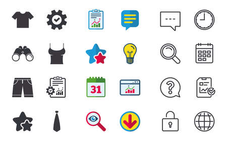 Clothes icons. T-shirt and bermuda shorts signs. Business tie symbol. Chat, Report and Calendar signs. Stars, Statistics and Download icons. Question, Clock and Globe. Vector Illustration