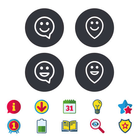 calendar icon: Happy face speech bubble icons. Smile sign. Map pointer symbols. Calendar, Information and Download signs. Stars, Award and Book icons. Light bulb, Shield and Search. Vector