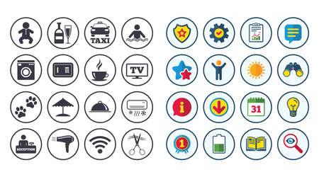 Set van pictogrammen voor hoteldiensten. Taxi, Wifi internet en zwembadborden. Koffie, wijnfles en symbolen voor airconditioning. Kalender, rapport en boekenborden. Pictogrammen voor sterren, service en downloaden. Vector