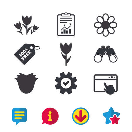 Flowers icons. Bouquet of roses symbol. Flower with petals and leaves. Browser window, Report and Service signs. Binoculars, Information and Download icons. Stars and Chat. Vector Ilustracja