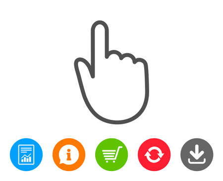Hand Click line icon. Finger touch sign. Cursor pointer symbol. Report, Information and Refresh line signs. Shopping cart and Download icons. Editable stroke. Vector Ilustração