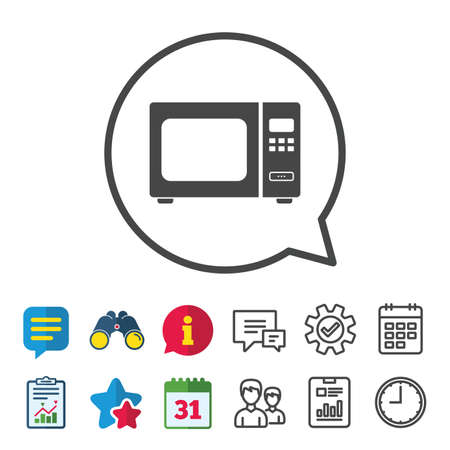 Microwave oven sign icon. Kitchen electric stove symbol. Information, Report and Calendar signs. Group, Service and Chat line icons. Vector 向量圖像