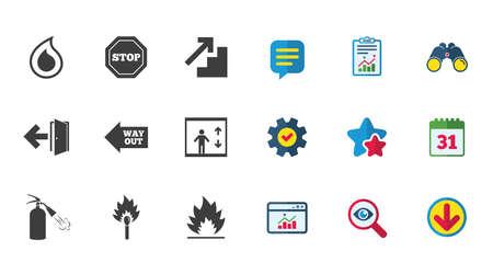 Brandveiligheid, noodpictogrammen. Brandblusser, uitgang en stopborden. Symbolen voor lift, waterdruppel en lucifer. Kalender, rapport en downloadborden. Pictogrammen voor sterren, service en zoeken. Vector Stock Illustratie