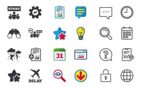 Strike icon. Storm bad weather and group of people signs. Delayed flight symbol. Chat, Report and Calendar signs. Stars, Statistics and Download icons. Question, Clock and Globe. Vector