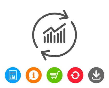 차트 라인 아이콘입니다. 보고서 그래프 또는 매출 증감 업데이트. 분석 및 통계 데이터 기호입니다. 보고서, 정보 및 새로 고침 줄 표지판. 쇼핑 카트