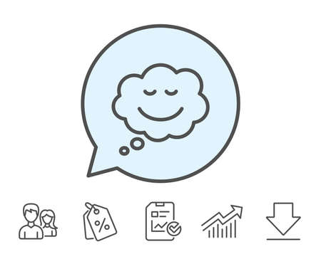 Comic speech bubble with Smile line icon. Chat emotion sign. Report, Sale Coupons and Chart line signs. Download, Group icons. Editable stroke. Vector Ilustração