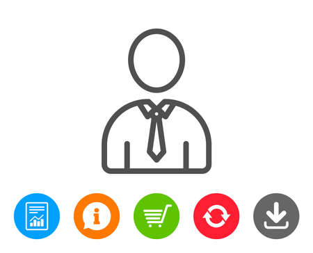 shopping chart: User line icon. Profile Avatar sign. Businessman Person silhouette symbol. Report, Information and Refresh line signs. Shopping cart and Download icons. Editable stroke. Vector