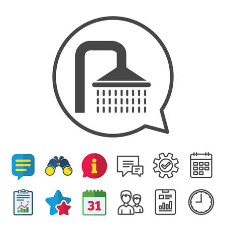 Shower sign icon. Douche with water drops symbol. Information, Report and Calendar signs. Group, Service and Chat line icons. Vector